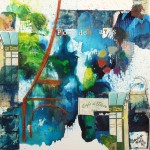 Primary Triptych III - Blue - 12 x 12 - Mixed Media on Panel