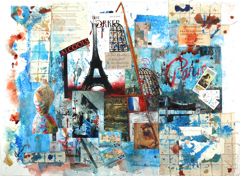 Book Jacket 6 - Paris - 22x 30 - Mixed media on Paper
