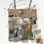 Shopping Bag VII - Silver - 12 x 12 - Mixed Media on Panel