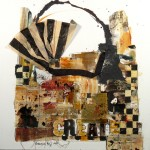 Shopping Bag XI - Ochre - Mixed Media on Canvas