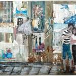 Street Scene - Paris - 20 x 28 - Mixed Media on Paper