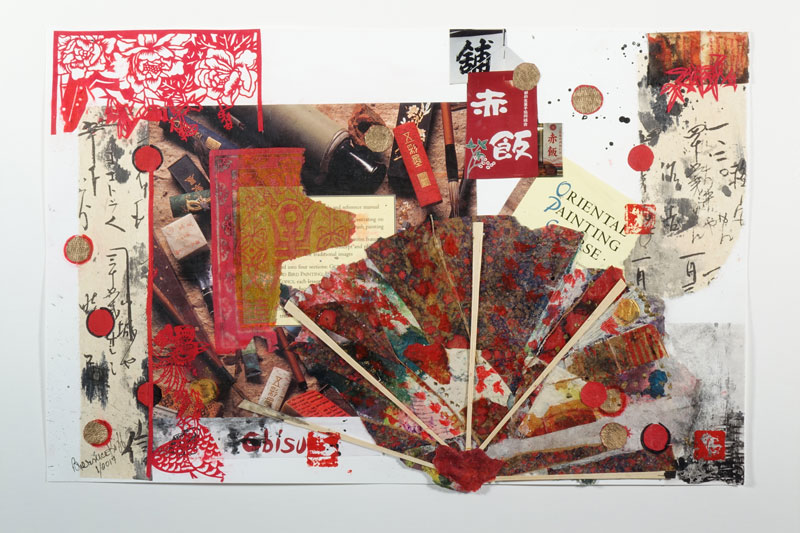 Book Jacket 5 - Oriental Painting - 13 x 20 - Mixed Media on Paper