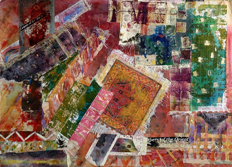"Book Jacket 23- Carpets of the Orient. It is 22"" X 30"" Mixed Media on Paper and completed in 2020 (Covid-19#03)"